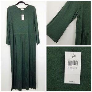 J. Jill Rayon Wool Knit Midi Dress In Emerald
